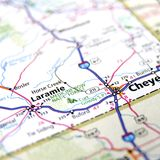 Map of Laramie. A close up of a map with the focus on the Laramie city in Wyoming Royalty Free Stock Photos