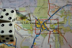Map of Las Vegas. Nevada with a pair of dice on it royalty free stock image