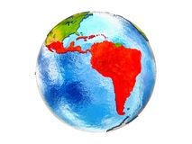 Map of Latin America on 3D Earth isolated. Latin America on 3D model of Earth with country borders and water in oceans. 3D illustration isolated on white stock photo