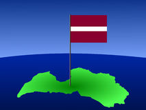 Map of Latvia with flag. Map of Latvia and Latvian flag on pole illustration Royalty Free Stock Images