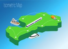 Map Latvia isometric concept. Royalty Free Stock Images
