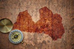 Map of latvia on a old vintage crack paper Royalty Free Stock Images
