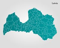 Map of Latvia Stock Photos