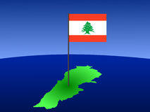 Map of Lebanon with flag Royalty Free Stock Photos