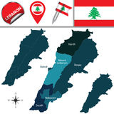 Map of Lebanon Royalty Free Stock Photography