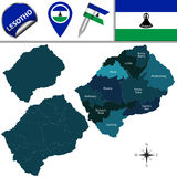Map of Lesotho with Named Districts Royalty Free Stock Image