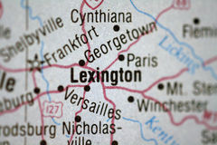 Map of Lexington Kentucky. And surrounding area royalty free stock photo