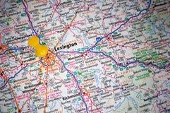 Lexington, Kentucky. A map of Lexington, Kentucky marked with a push pin stock photo