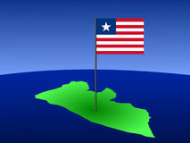 Map of Liberia with flag Royalty Free Stock Images