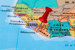 Map of  Liberia with a red pushpin stuck Royalty Free Stock Photos