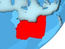 Map of Libya on blue political globe Stock Photography