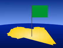 Map of Libya with flag Stock Photos