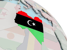 Map of Libya with flag Stock Images