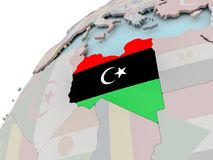 Map of Libya with flag Royalty Free Stock Image