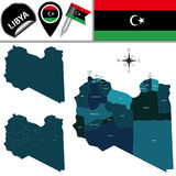 Map of Libya with Named Districts Royalty Free Stock Images