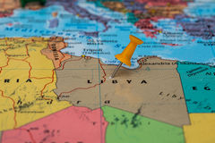 Map of Libya with a orange pushpin stuck Stock Images