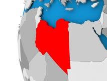 Map of Libya on political globe Stock Photos