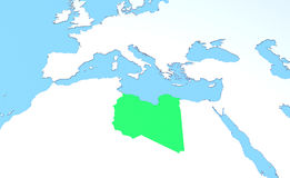 Map Libya raised, green, 3d, africa, europe Stock Image