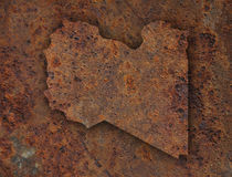 Map of Libya on rusty metal Royalty Free Stock Image