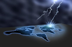 Map lightning. Lightning hits the map creates a explosion Stock Photo