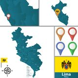 Map of Lima with Districts. Vector map of Lima with named districts, pins icons and locations on Peruvian map vector illustration
