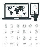 Map line thin icons with laptop and smartphone Stock Images