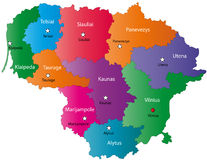 Map of Lithuania. Poland map designed in illustration with the 10 counties colored in bright colors and with the main cities. Neighbouring countries  are in an Stock Images