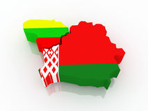 Map of Lithuania and Belarus. Royalty Free Stock Photos