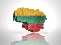 Map of  Lithuania. Map of Lithuania with Lithuanian Flag on a white background Stock Image