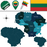 Map of Lithuania with named counties Royalty Free Stock Image