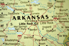 Map of Little Rock Arkansas. And surrounding area royalty free stock photos