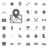 Map location icon. Camping and outdoor recreation icons set. Map location icon. Camping and outdoor recreation icons set Royalty Free Stock Images