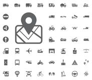 Map location icon. Transport and Logistics set icons. Transportation set icons.  Royalty Free Stock Photography