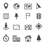 Map and location icons. Mono vector symbols Royalty Free Stock Image