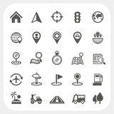 Map and Location icons set Stock Images