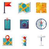 Map and Location Icons set. Modern trendy flat vector illustration Royalty Free Stock Photography