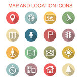 Map and location long shadow icons Stock Photography