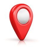 Map location marker. Creative abstract GPS satellite navigation, travel, tourism and location route planning business concept: red destination pointer marker Stock Image