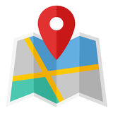 Map and Location Marker Flat Icon on White Royalty Free Stock Photos