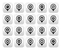 Map location markers, pointers  buttons set Stock Images