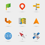 Map, location and navigation icons in flat paper Stock Photography