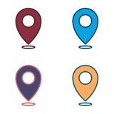 Map location set of icons - web signs - Navigation set colorful. Set of icon location Stock Photo