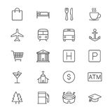 Map and location thin icons stock illustration