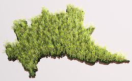 Map of Lombardy covered by crop plants Royalty Free Stock Photography