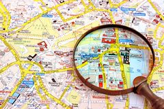 Map of London and magnifier glass. Royalty Free Stock Photo