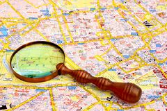 Map of London and magnifier glass. Stock Photo