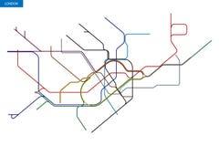 Map of the London Underground. Schematic transit map of the London Underground stock illustration