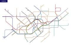 Map of the London Underground. Schematic transit map of the London Underground and Overground royalty free illustration