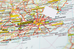 Map london with white flag pointer Royalty Free Stock Image