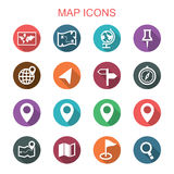 Map long shadow icons Royalty Free Stock Images